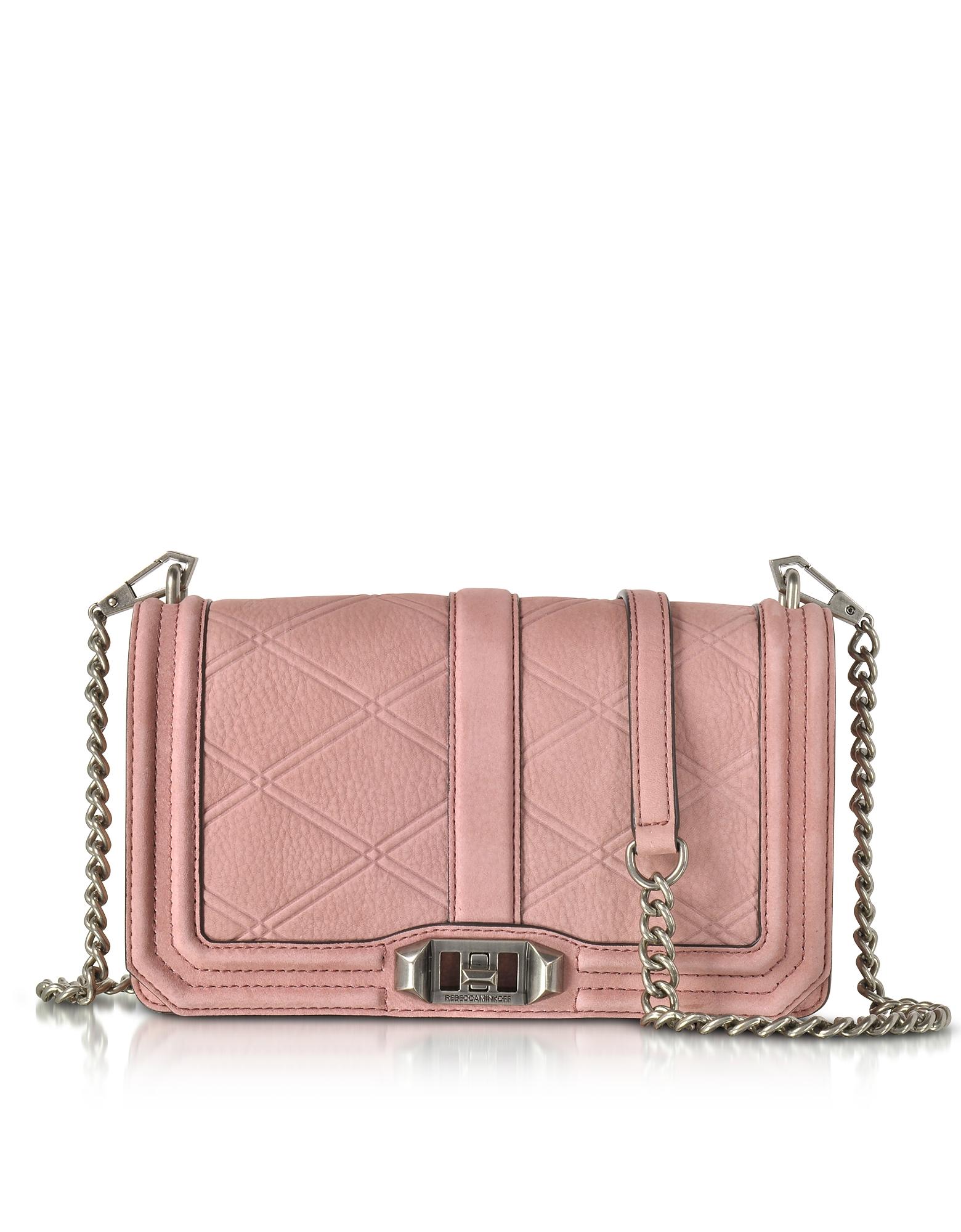 Embossed Nubuck Love Crossbody Bag