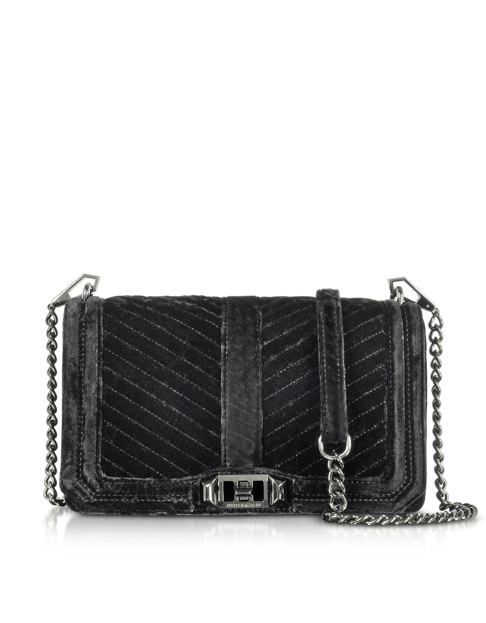 Rebecca Minkoff Black Chevron Quilted Velvet Love Crossbody Bag