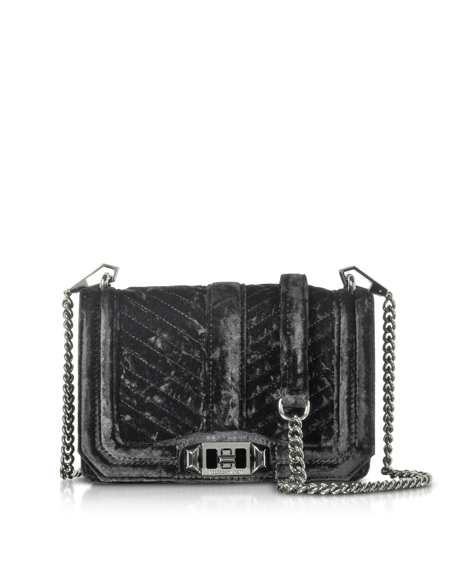 Rebecca Minkoff Chevron Quilted Small Velvet Love Crossbody Bag
