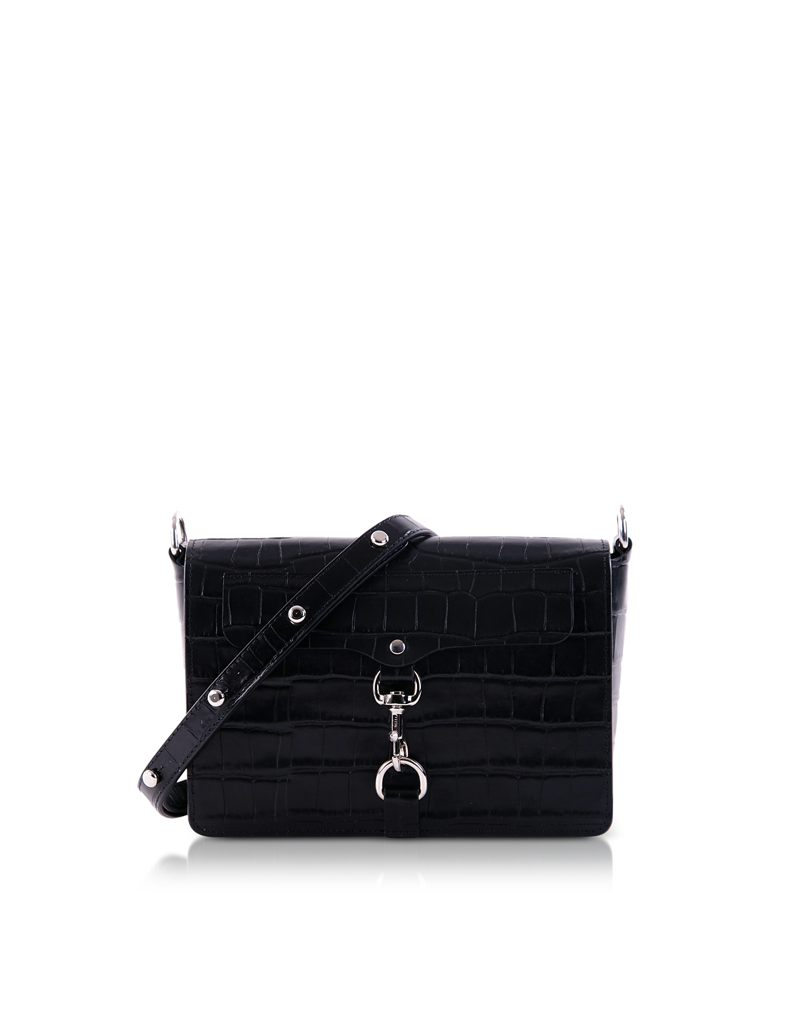 Croco Embossed Leather Mab Flap Crossbody