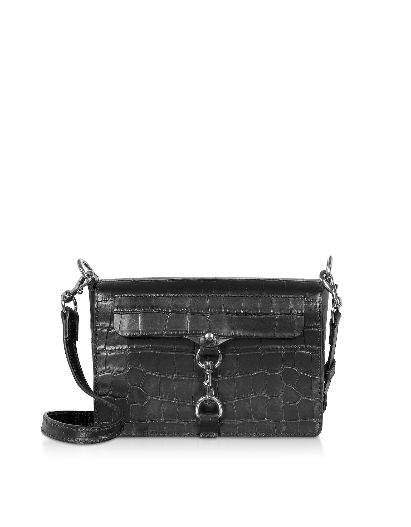 Rebecca Minkoff Designer Handbags, Croco Embossed Leather Mab Flap Crossbody