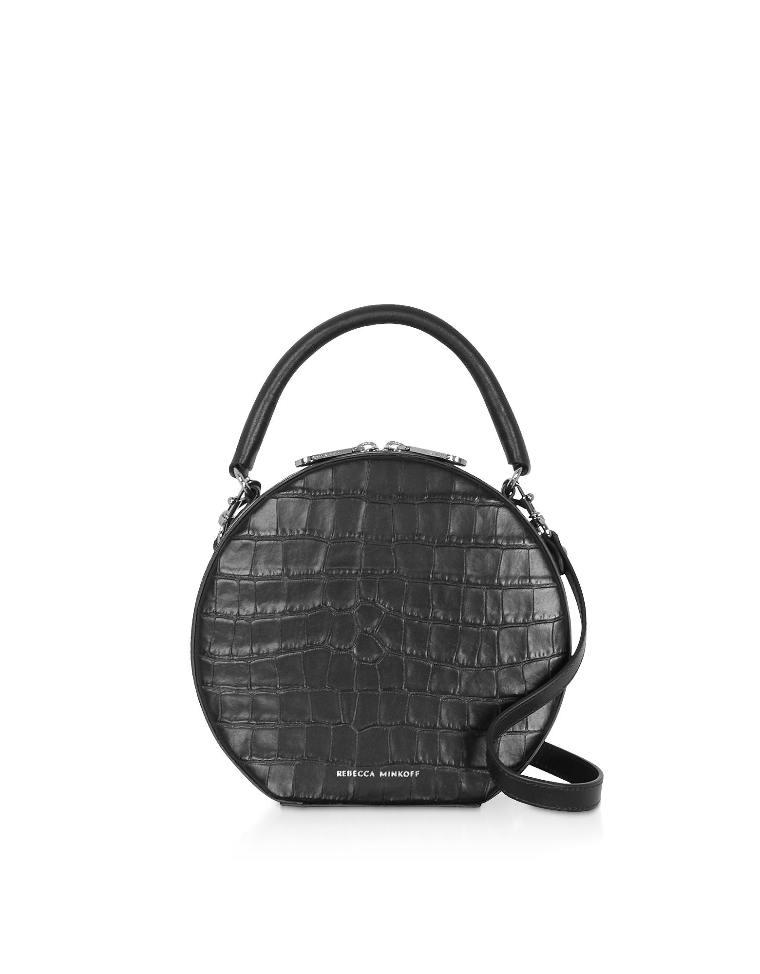 Croco Embossed Leather Circle Bag Crossbody Bag