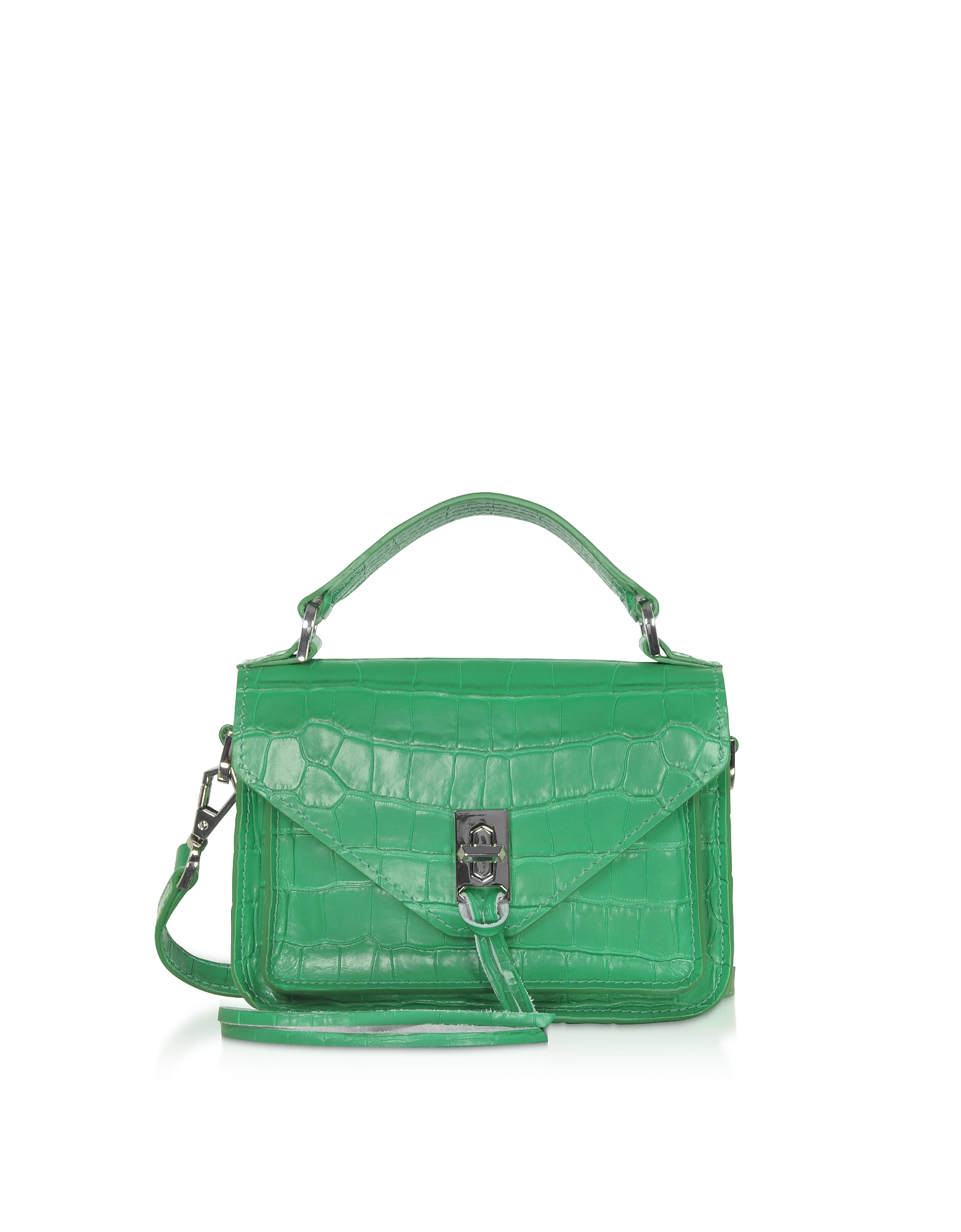 Croco Embossed Leather Mini Darren Messenger Bag