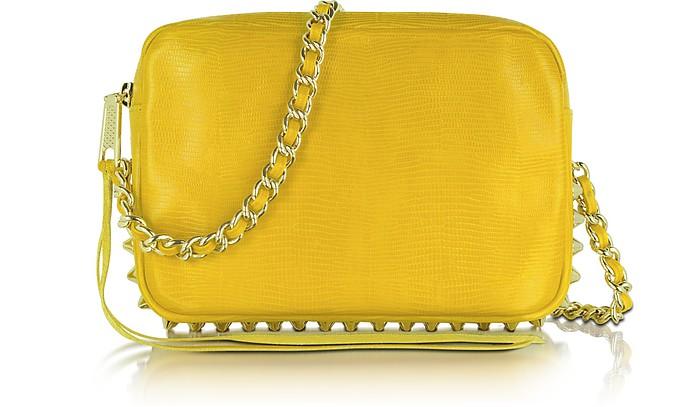 Flirty Lizard-Embossed Leather Shoulder Bag  - Rebecca Minkoff