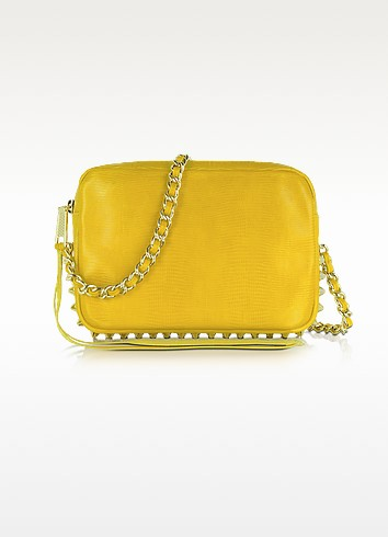 Flirty Lizard-Embossed Leather Shoulder Bag  - Rebecca Minkoff