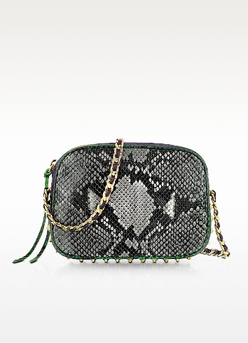 Snake-Embossed Flirty Crossbody Bag  - Rebecca Minkoff