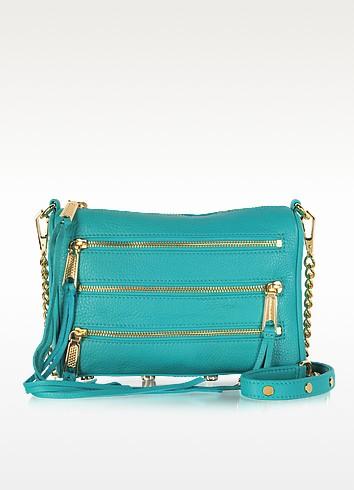 Mini 5 Zip Leather Clutch w/Shoulder Strap - Rebecca Minkoff