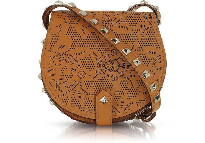 Skylar Mini Brown Perforated Leather Crossbody - Rebecca Minkoff