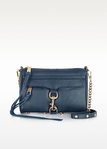 Midnight Blue Mini Mac Clutch w/Shoulder Strap - Rebecca Minkoff