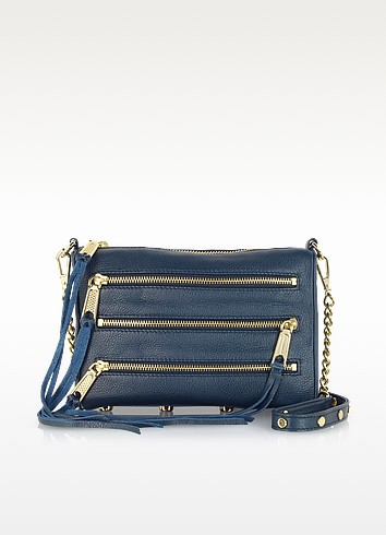 Mini 5 Zip Leather Clutch w/Shoulder Strap - Rebecca Minkoff
