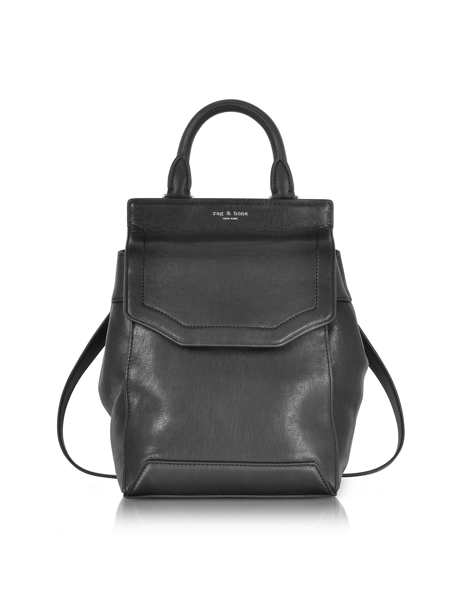 Image of Rag & Bone Designer Handbags, Black Leather Small Pilot Backpack II