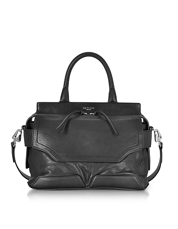 Black Leather Pilot Satchel Bag