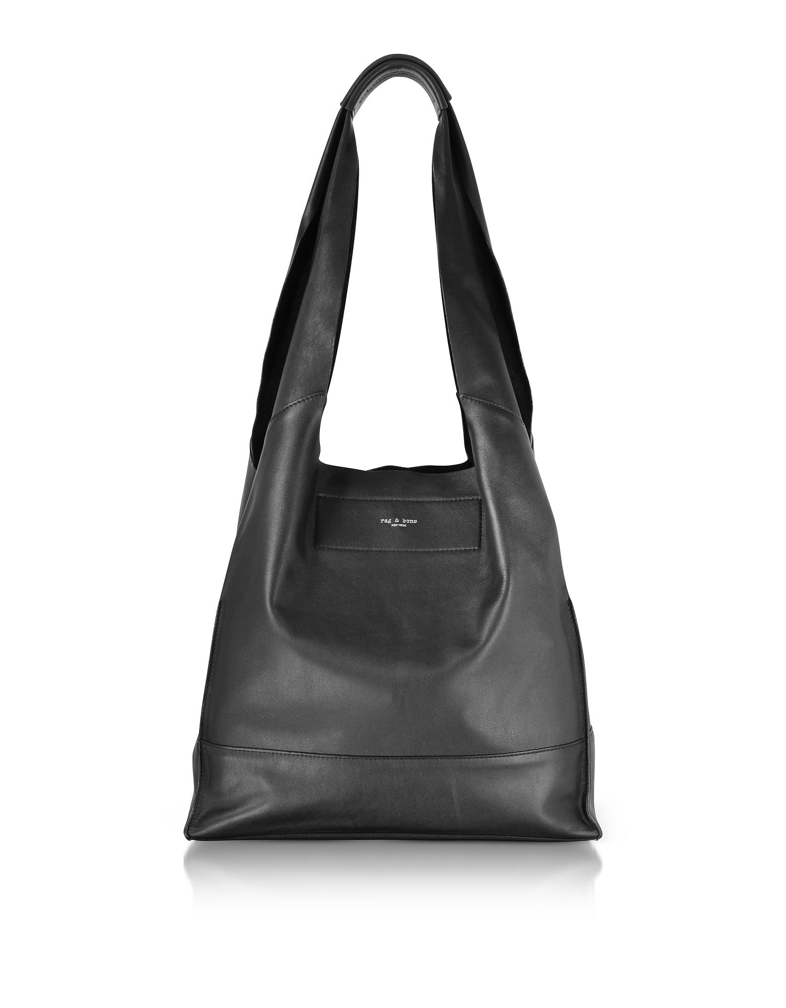 Image of Rag & Bone Designer Handbags, Black Leather Walker Shopper Tote Bag