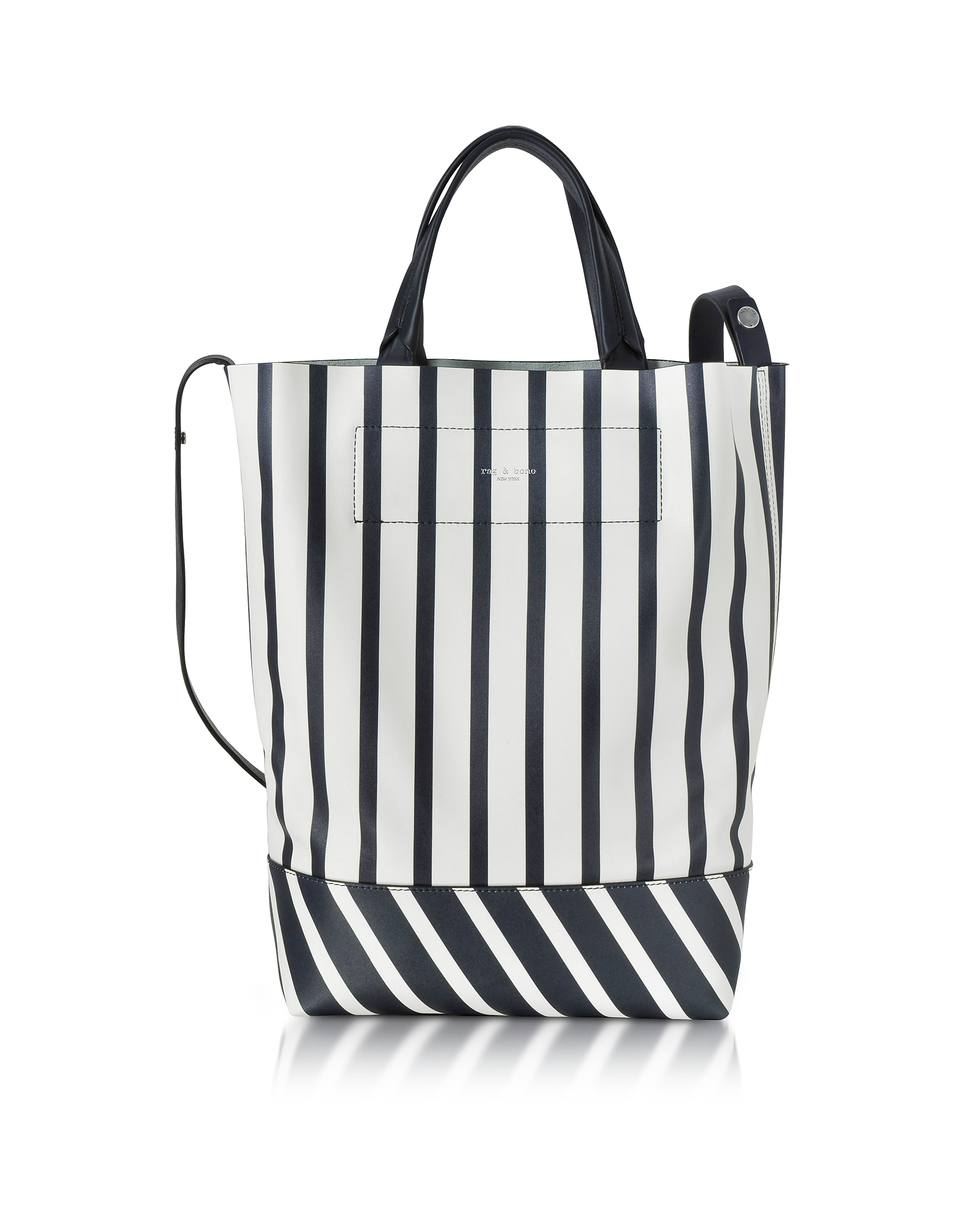 Rag & Bone Handbags, White and Navy Blue Striped Leather Walker Convertible Tote Bag