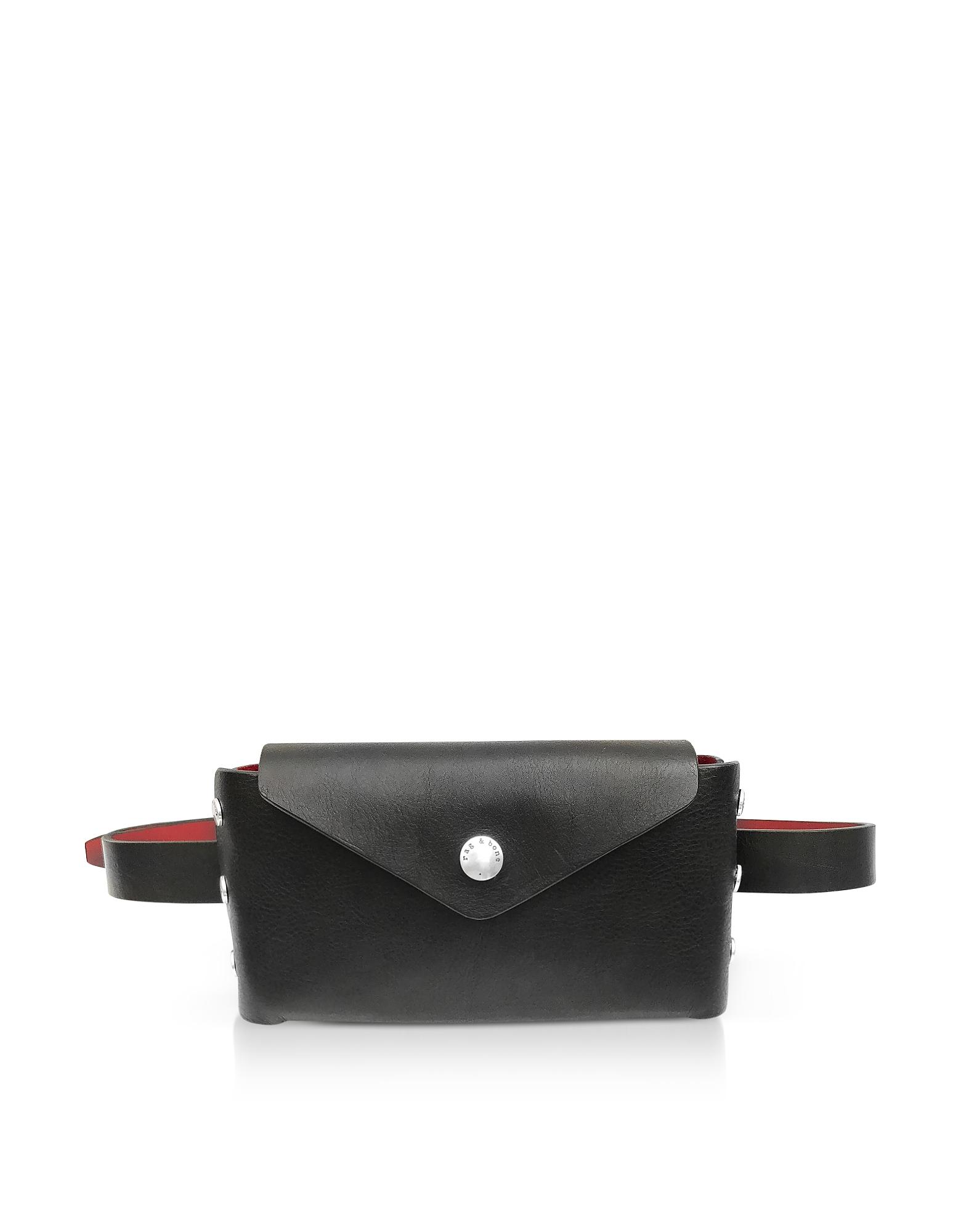 Small/Medium Color Block Leather Atlas Belt Bag in Black/ Biking Red
