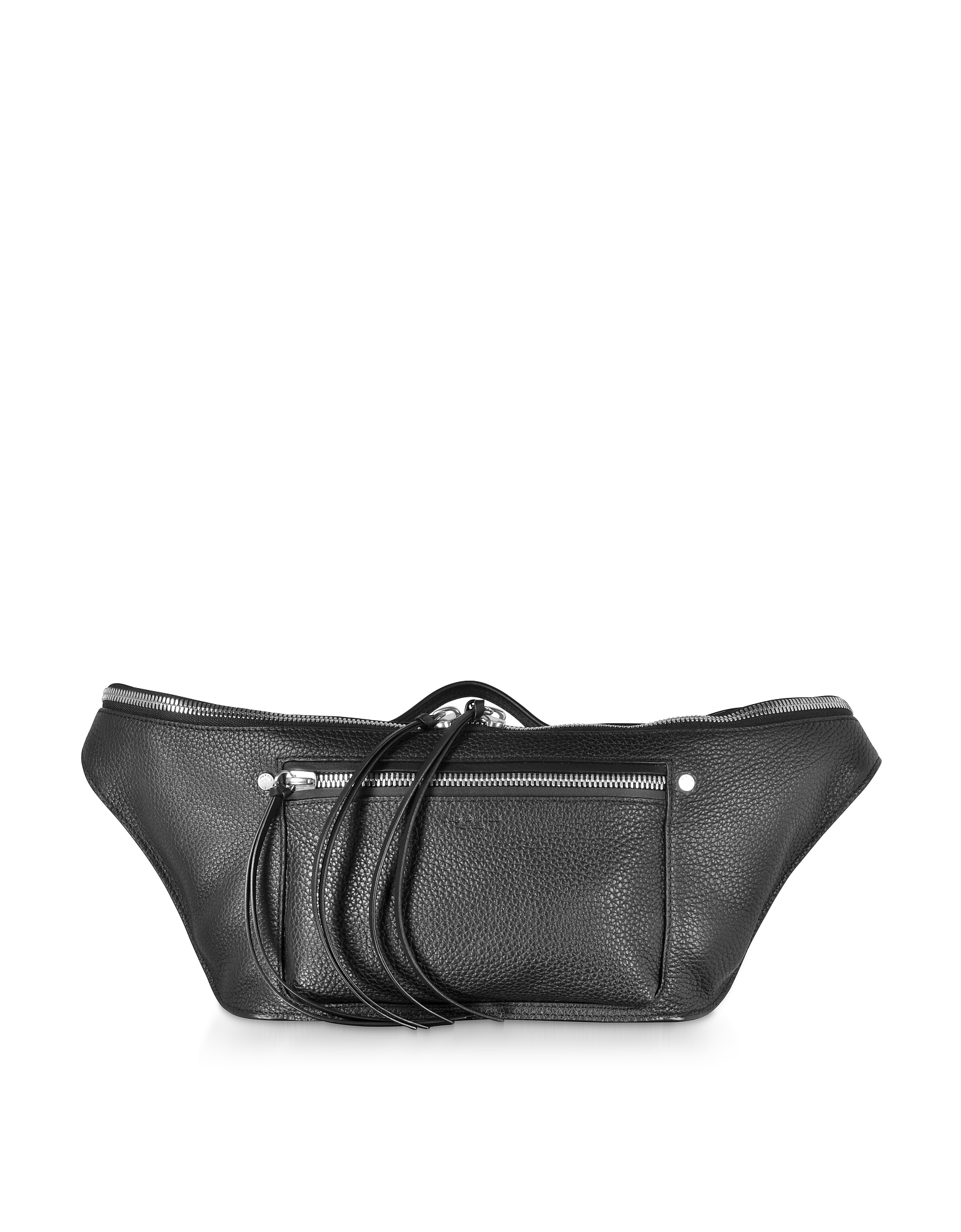 Black Leather Large Elliot Fanny Pack / Belt Bag
