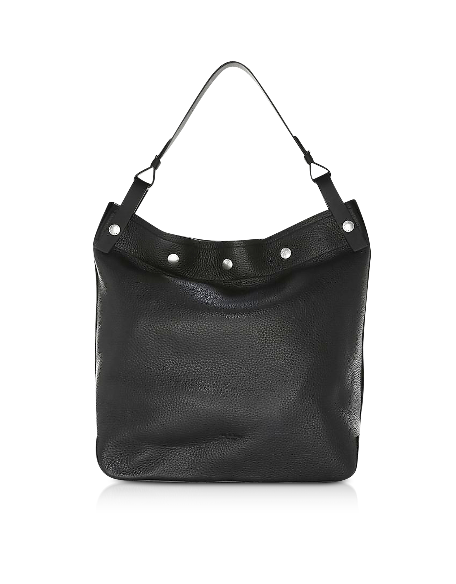 Compass Snap Hobo Borsa in Pelle Nera