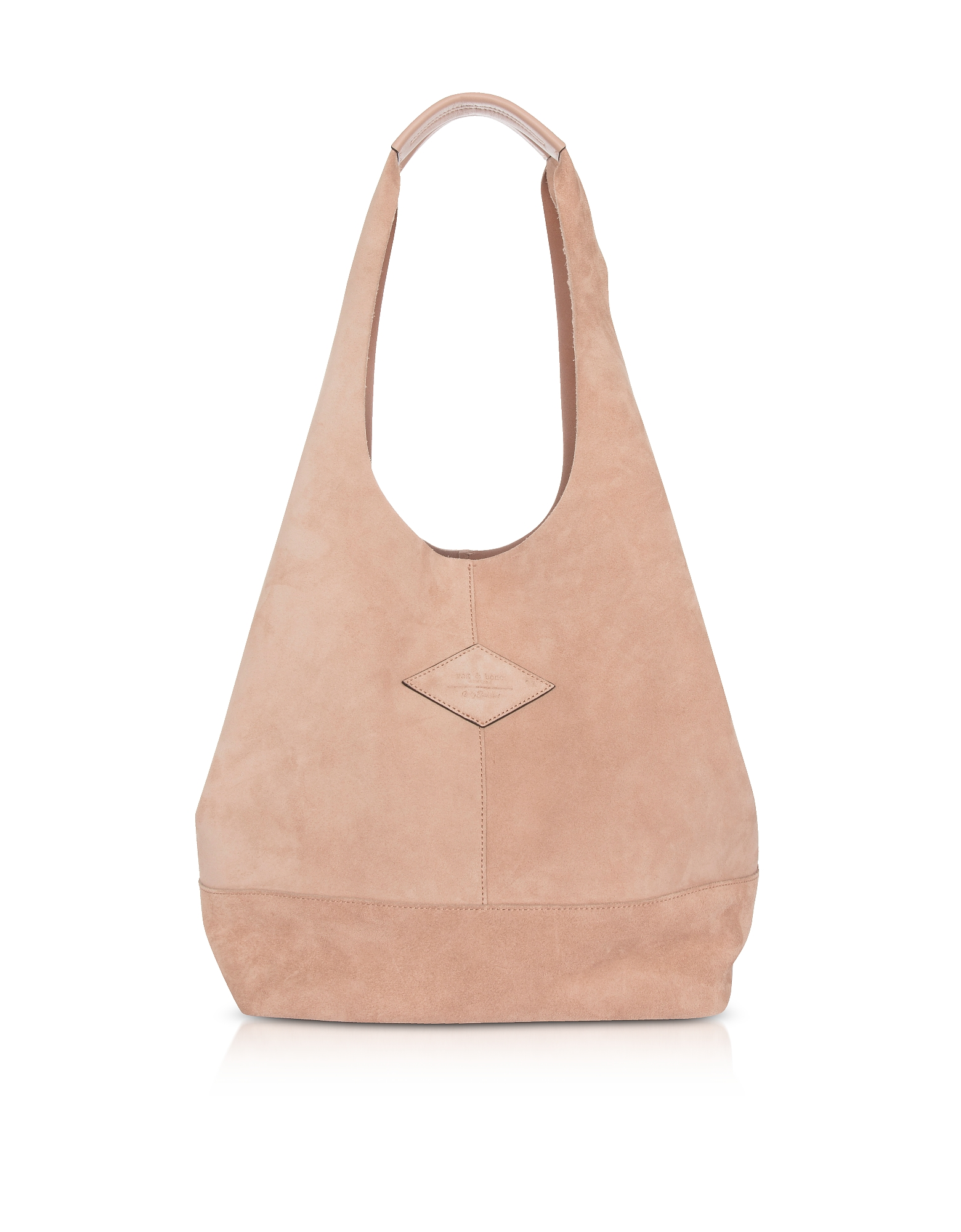 Image of Rag & Bone Designer Handbags, Nude Suede Camden Shoulder Bag