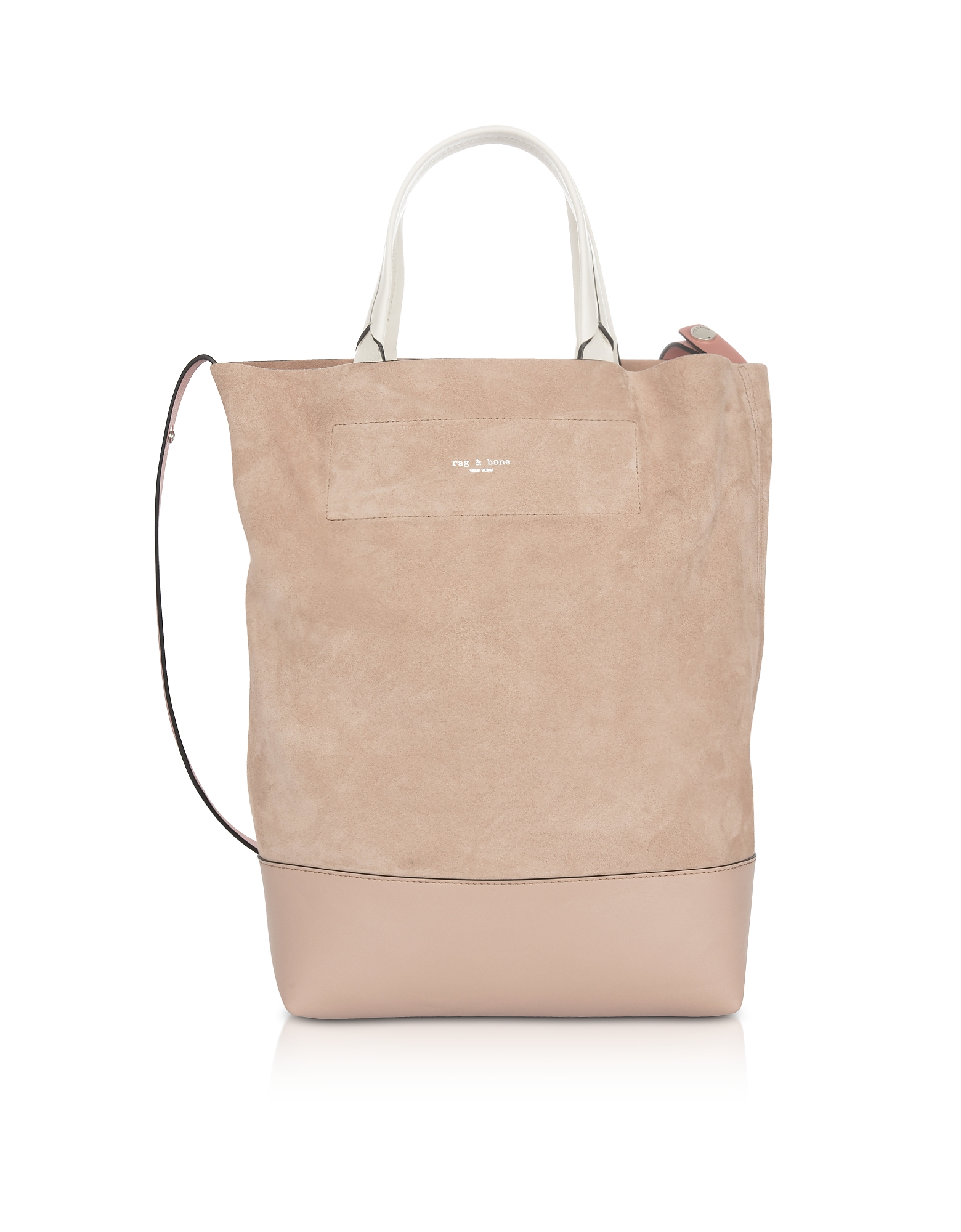 Walker Convertible Shopping Bag in Suede Nude