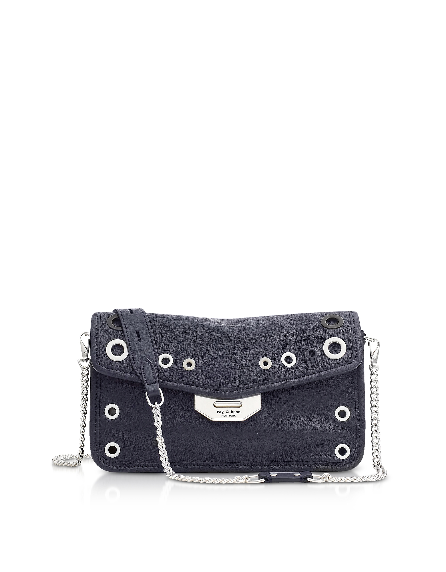 Grommet Field Clutch in Pelle Blu Navy