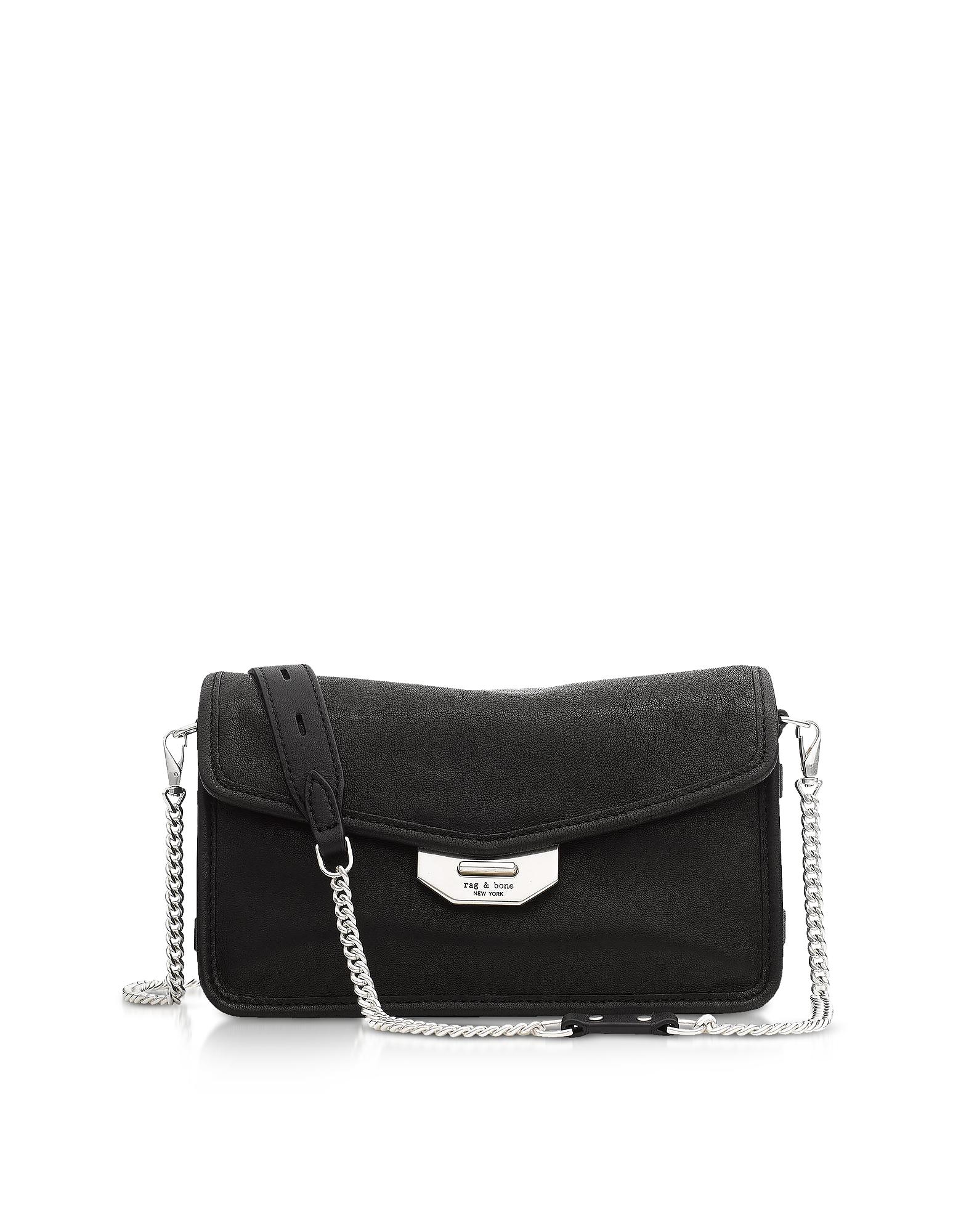 Image of Rag & Bone Designer Handbags, Black Leather Field Clutch