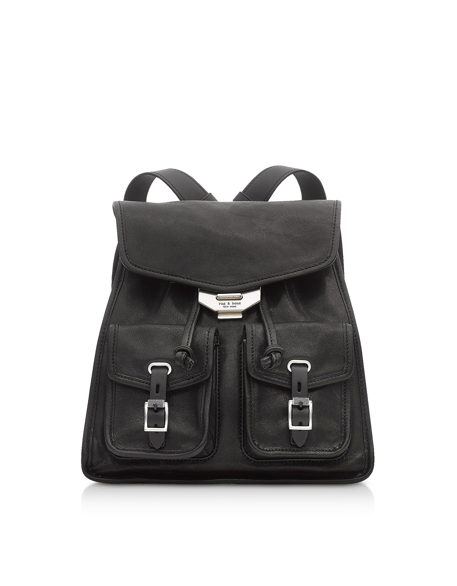 Black Leather Field Small Backpack