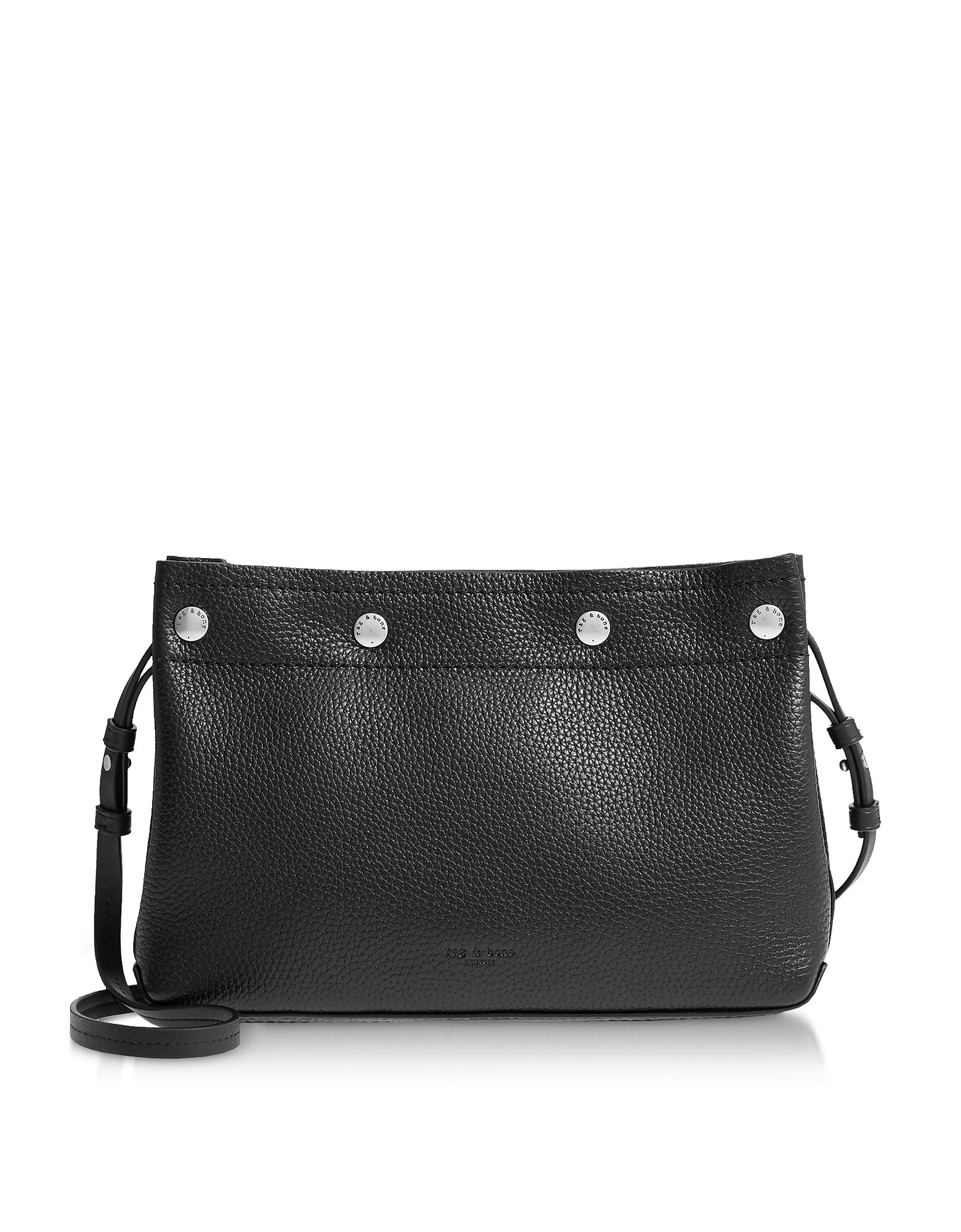 Black Leather Compass Snap Crossbody Bag