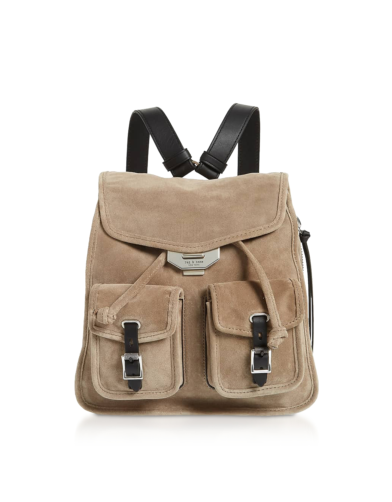 Rag & Bone Designer Handbags, Warm Grey Suede Field Small Backpack