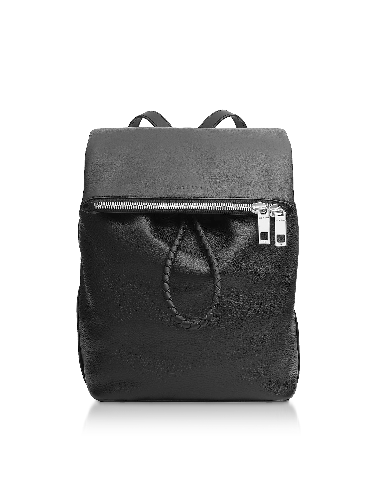Black Leather Loner Backpack