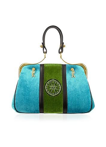 Roberta di Camerino Caravel - Blue & Emerald Velvet Framed Handbag