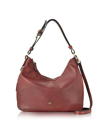 Large Burgundy Eco Leather Zip Hobo Bag