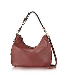 Large Burgundy Eco Leather Zip Hobo Bag - Roccobarocco