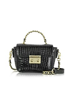 Mini Croco Embossed Eco Leather Shoulder Bag - Roccobarocco