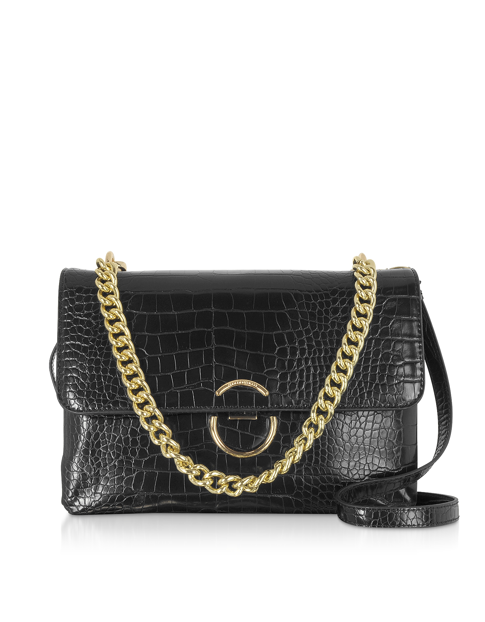 Roccobarocco Designer Handbags, Bento Croco Embossed Eco-Leather Shoulder Bag
