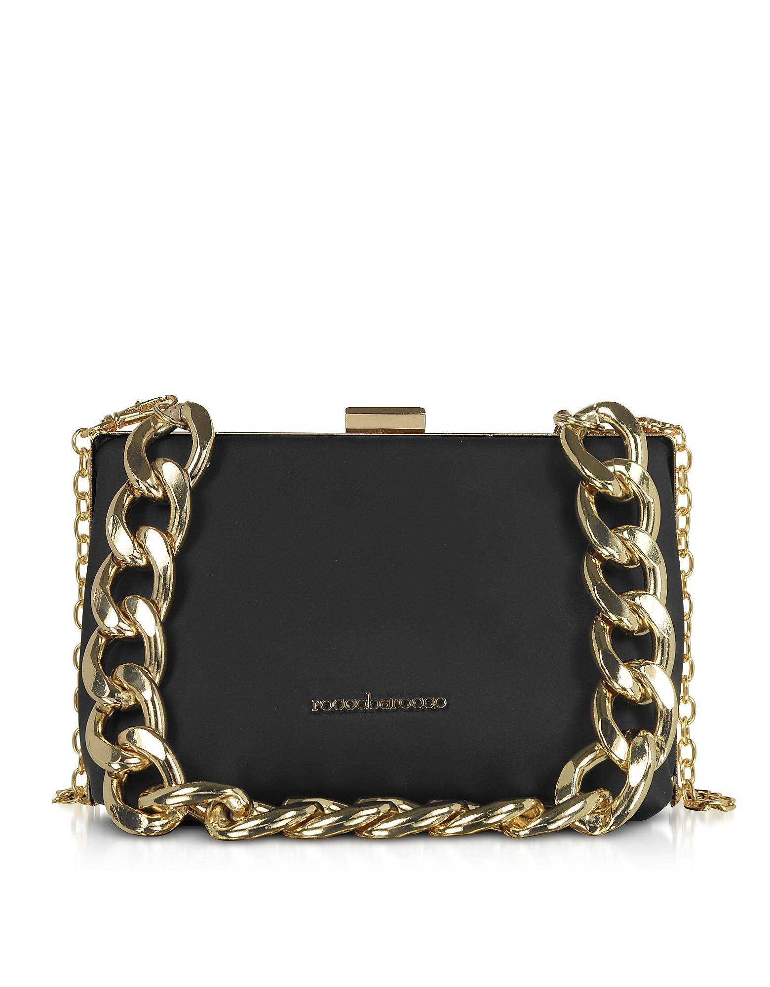 Roccobarocco Designer Handbags, Pita Black Matte Eco-Leather Shoulder Bag