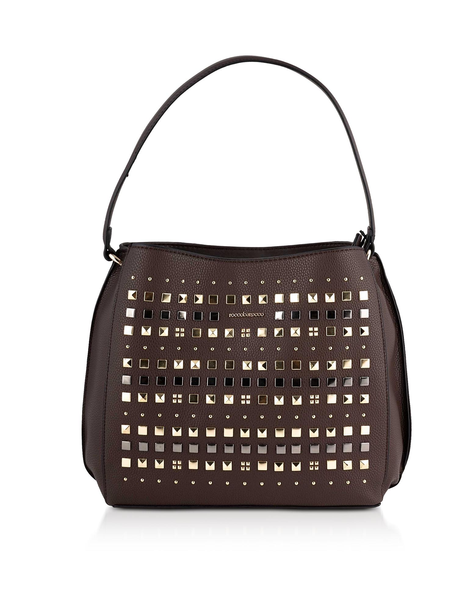 Roccobarocco Designer Handbags, Sushi Studded Large Shoulder Bag