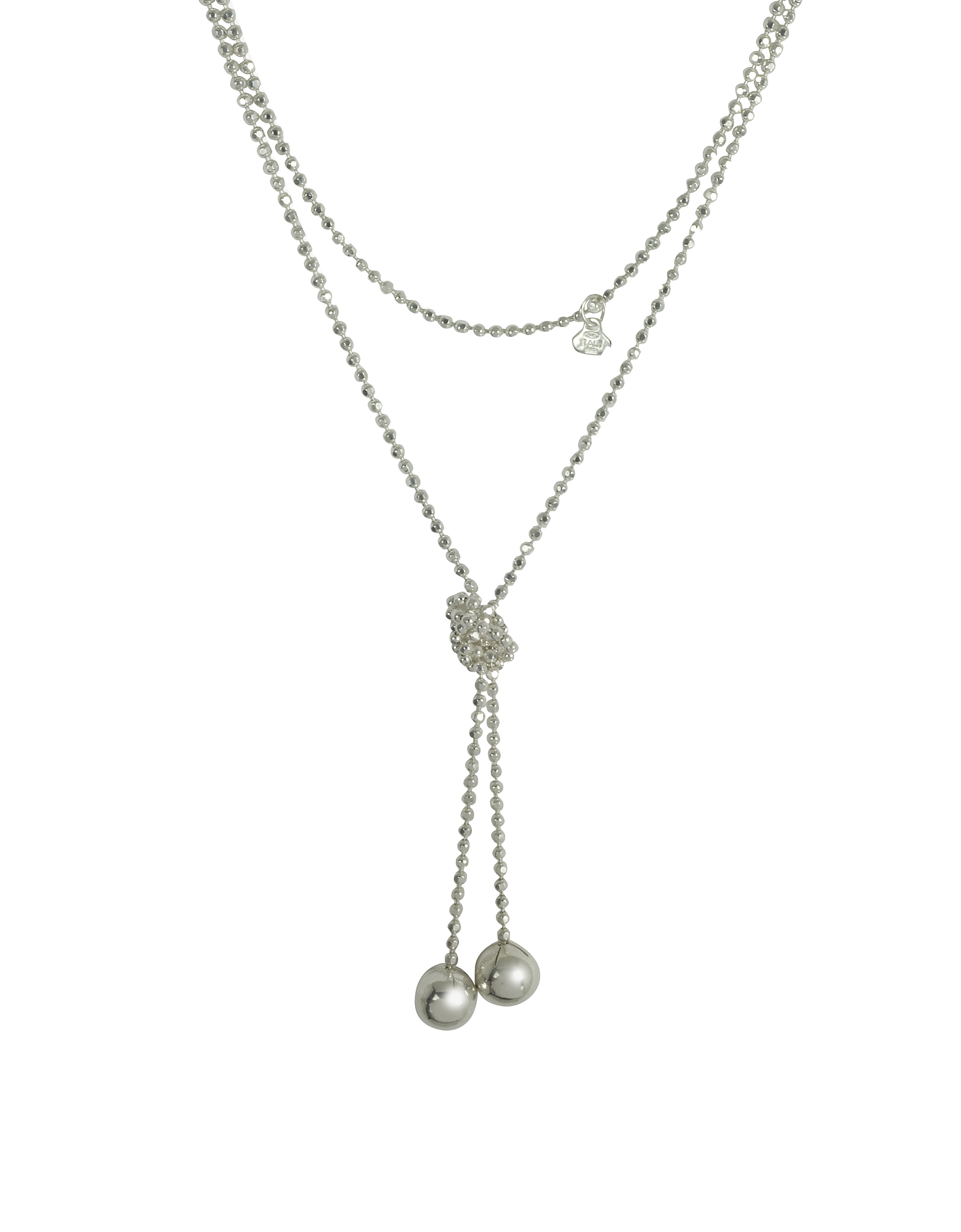 Rosato Designer Necklaces, Sterling Silver Beads Self-Tie Necklace