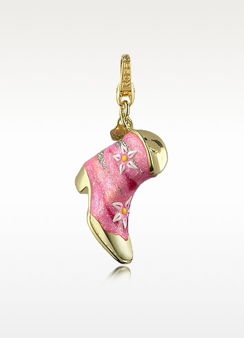 Classic - Goldie Pink 18K Gold Boot Charm Pendant - Rosato