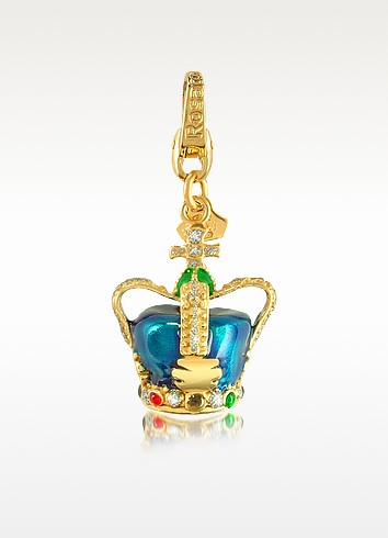 City - London 18K Yellow Gold and Blue Crown Charm Pendant - Rosato