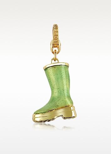 City - London Green Boot 18K Gold Charm Pendant - Rosato