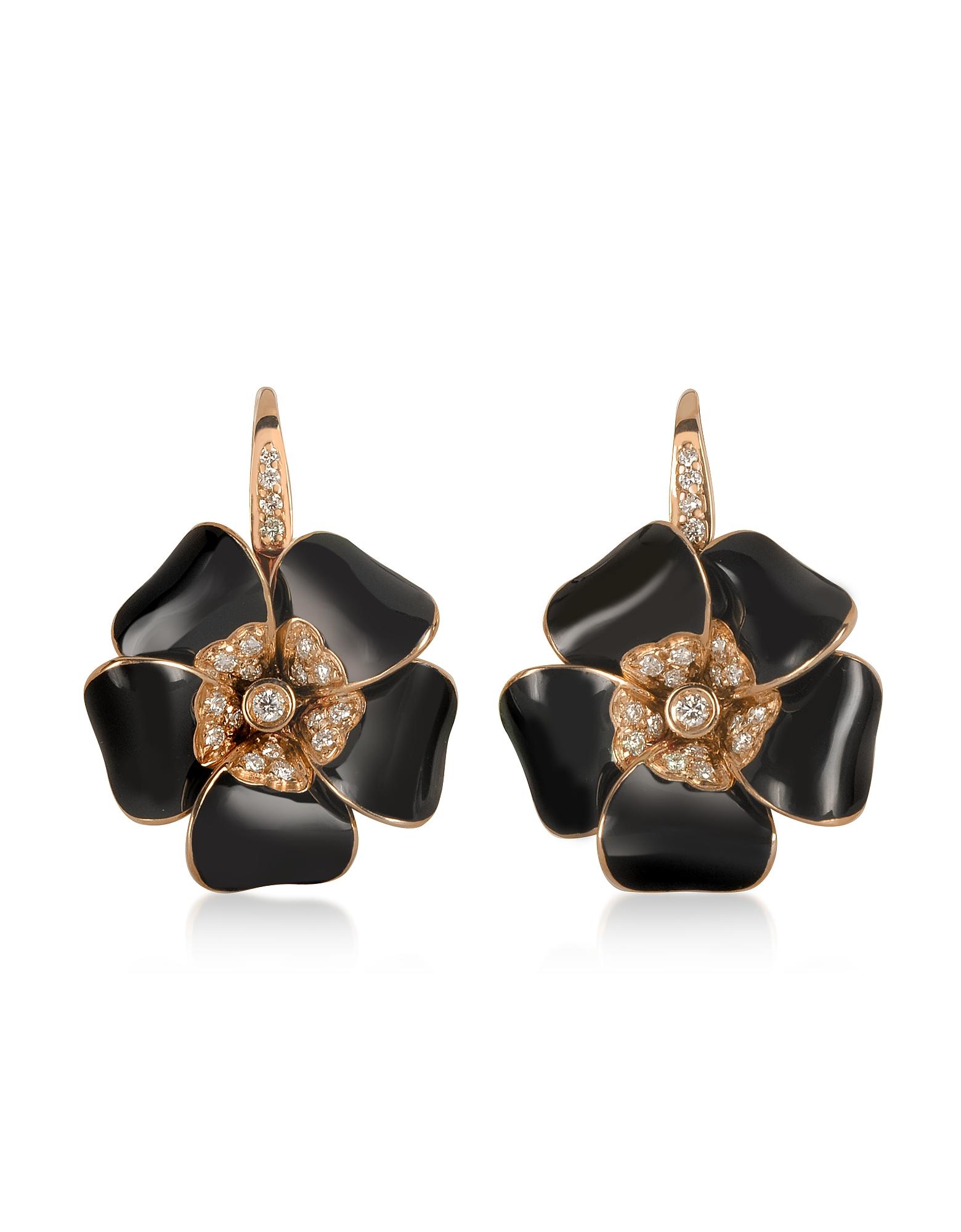 Rosato Designer Earrings, Rose Gold, Diamonds and Black Enamel Lily Earrings