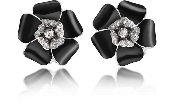 Iris - Diamond Flower Sterling Silver Earrings - Rosato