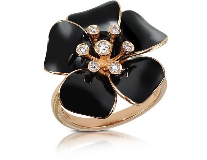 Marigold - Ring aus 18k Gold mit Blume und Diamanten - Rosato