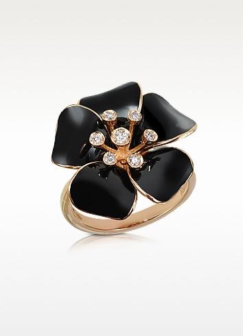 Marigold - Diamond and 18K Gold Black Small Flower Ring - Rosato