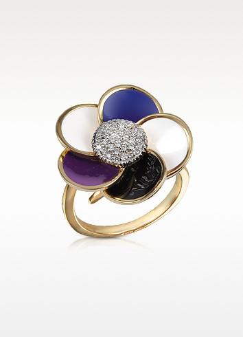 Violet - Diamond and 18K Gold Flower Ring - Rosato