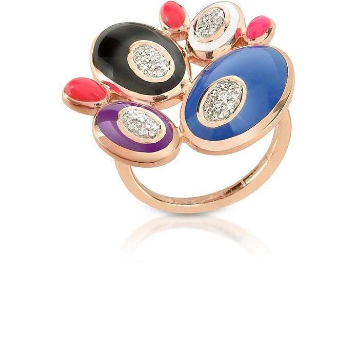 70s Oval - Diamond and Enamel Rose Gold Ring - Rosato