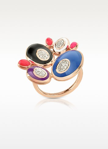 70s Oval - Diamond and Enamel Rose Gold Ring - Rosato