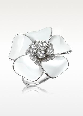 Iris - Diamond White Flower Sterling Silver Ring - Rosato