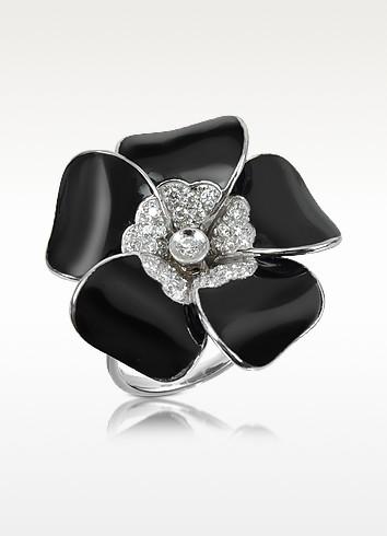 Iris - Diamond Black Flower Sterling Silver Ring - Rosato