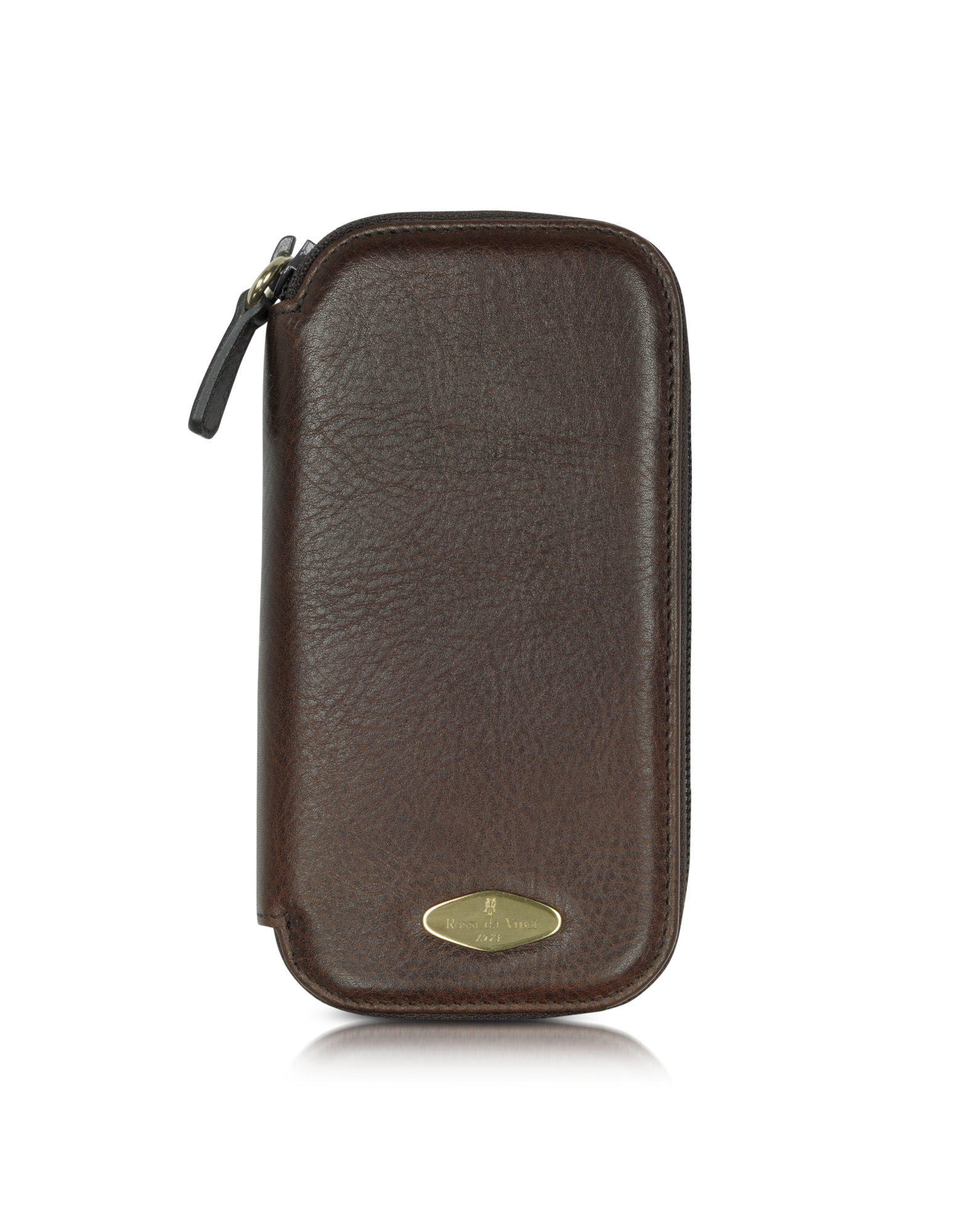 Image of Brown Leather Watch Box with Zipper